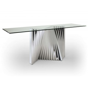 Ace Glass/Stainless Steel Console Table by Sharelle Furnishings