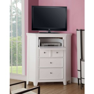 Lacey Corner TV Stand, White by ACME
