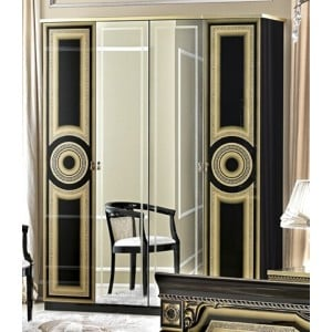 Aida Wood Veneer Wardrobe w/4 Doors