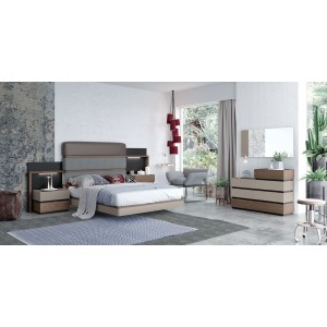 Leo Eco-Leather/Fabric Platform Bedroom Set