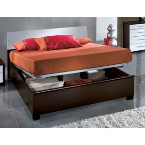 Luxury Wood Veneer Storage Platform Bed