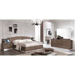 Platinum Eco-Leather/Wood Platform Bedroom Set