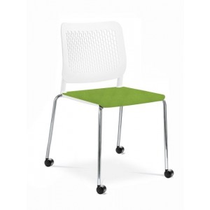 Wait Conference Armless Chair, Plastic Back, Upholstered Seat, 4-leg Base with Castos