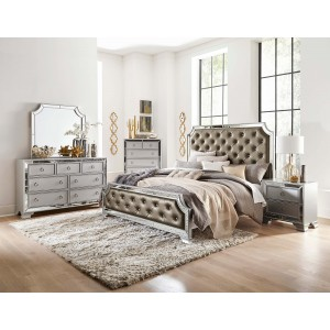 Avondale Vinyl/Mirror Tufted Panel Bedroom Set