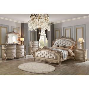 Gorsedd Wood/Fabric Tufted Panel Bedroom Set