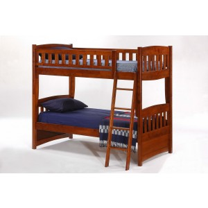 Cinnamon Wood Bunk Bed, Twin/Twin Size
