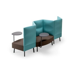 Cumulus 3-seater Modular Lounge Seating with Panels & Swivel Tables, 2 Tier Backrest