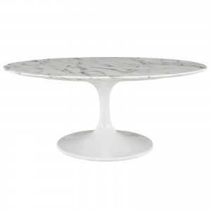 "Lippa 42"" Oval-Shaped Artificial Marble Coffee Table by Modway Furniture"