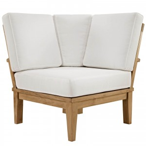 Marina Outdoor Patio Teak Corner Sofa, Natural + White by Modway Furniture