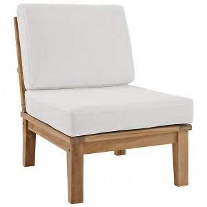 Marina Outdoor Patio Teak Middle Sofa, Natural + White by Modway Furniture