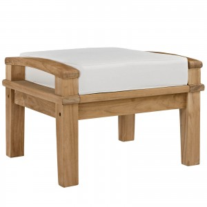 Marina Outdoor Patio Teak Ottoman, Natural + White by Modway Furniture
