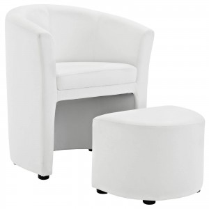 Divulge Armchair + Ottoman, White by Modway Furniture