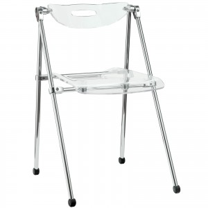 Telescope Folding Chair, Clear by Modway Furniture