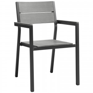 Maine Dining Outdoor Patio Armchair, Brown + Gray by Modway Furniture