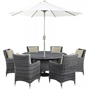 Summon 8 Piece Outdoor Patio Sunbrella Dining Set
