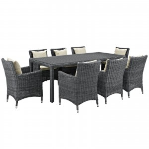 Summon 9 Piece Outdoor Patio Sunbrella Dining Set