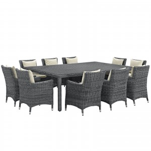 Summon 11 Piece Outdoor Patio Sunbrella Dining Set