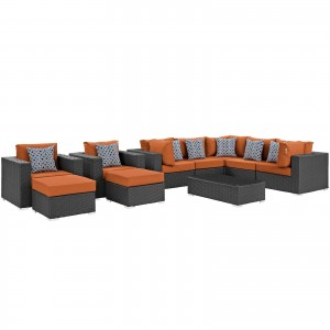 Sojourn 10 Piece Outdoor Patio Sunbrella Sectional Set