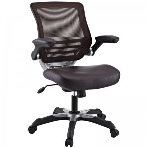 Edge Vinyl Office Chair, Brown by Modway Furniture