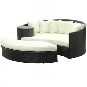 Taiji Outdoor Patio Daybed, Espresso + White by Modway Furniture