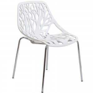 Stencil Dining Side Chair, White by Modway Furniture