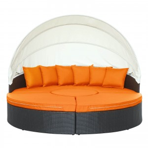 Quest Canopy Outdoor Patio Daybed, Espresso + Orange by Modway Furniture