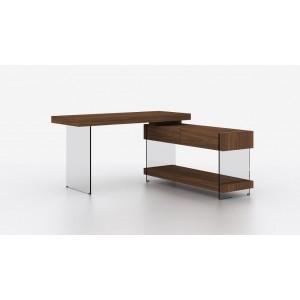 Elm Modern Wood Veneer/Glass Office Desk w/Storage Drawers by J&M Furniture