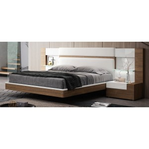 Mar Wood Veneer/Eco-Leather Platform Bed