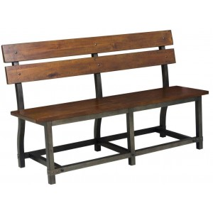 Holverson Industrial Wood Bench with Back