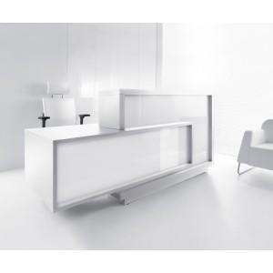 FORO Reception Desk, Right-Handed Counter, High Gloss White by MDD Office Furniture
