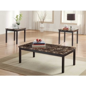 Tempe Metal Occasional Table Set (Coffee Table + 2 End Tables) by Homelegance