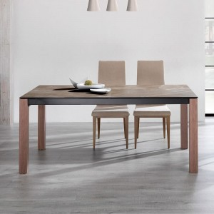 Iron Modern Rectangular Ceramic Extendable Dining Table by ESF Furniture