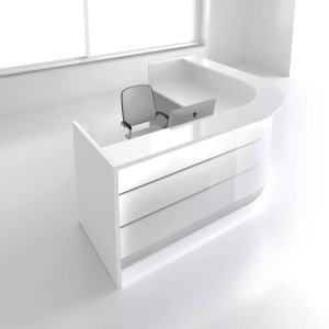 "VALDE L-Shaped 100"" Reception Desk, High Gloss White"