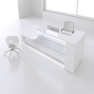 "VALDE 116"" Straight Reception Desk with Countetop, White"