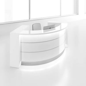 "VALDE 106"" Reception Desk with Storages, High Gloss White"