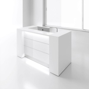 "VALDE 87"" Straight Reception Desk with Storages, High Gloss White"