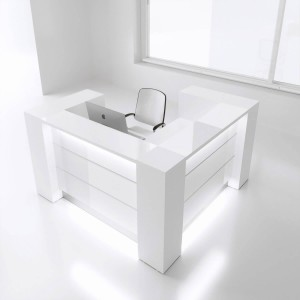 VALDE LAV12L Reception Desk, High Gloss White