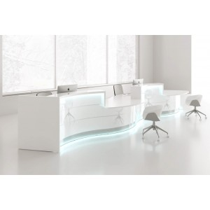 VALDE Right 2 Countertops Curved Large Reception Desk, High Gloss White