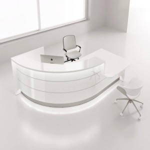 VALDE Right Medium Countertop Rounded Reception Desk, High Gloss White