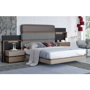 Leo Eco-Leather/Fabric Platform Bed