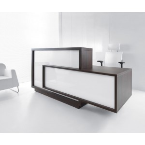 FORO Reception Desk, Left-Handed Counter, High Gloss White + Chestnut by MDD Office Furniture