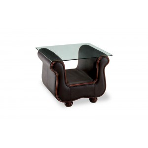 262 Glass/Leather End Table by ESF Furniture