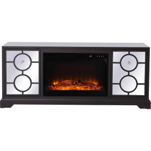 "Modern 60"" Mirrored TV Stand with Wood Fireplace Insert"