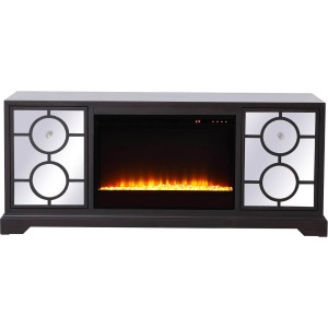 "Modern 60"" Mirrored TV Stand with Crystal Fireplace Insert"