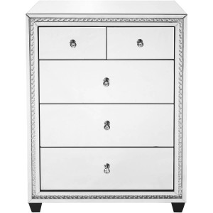 Modern Crystal 5 Drawers Tall Cabinet