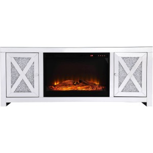 "Modern 59"" TV Stand with Wood Log Insert Fireplace"