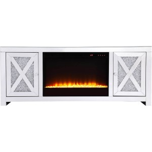"Modern 59"" TV Stand with Crystal Insert Fireplace"