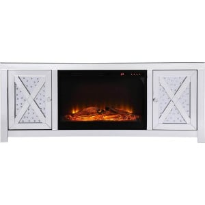 "Modern 59"" TV Stand with Wood Log Insert Fireplace, Composition 2"
