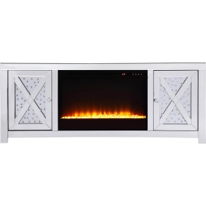 "Modern 59"" TV Stand with Crystal Insert Fireplace, Composition 2"