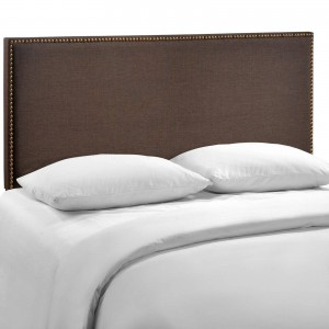 Region Queen Nailhead Upholstered Headboard, Dark Brown by Modway Furniture